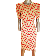 Vintage 1970 Missoni Linen polka dot Shirt dress gold crest buttons