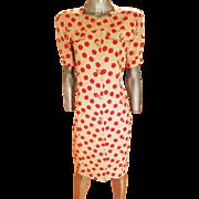 Vintage 1970 Missoni Linen polka dot Shirt dress gold crest buttons