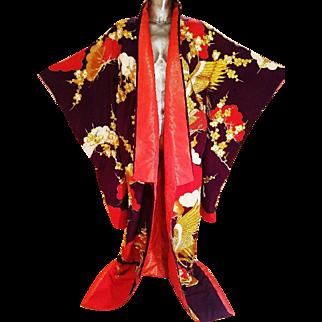 Vtg Japanese silk brocade Ushikaki wedding kimono gold purple heavy embroidery Cranes & tree Blossoms red base Rare