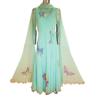 Vintage 1960's green/aqua chiffon maxi gown hand painted chiffon fluid maxi kimono opera shawl