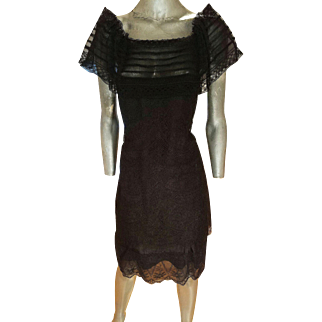 Christian Lacroix Couture Runway Chantilly lace silk organza dress Iconic