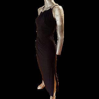Vintage Ralph Lauren couture draped grecian gown Swarovski crystal neckline