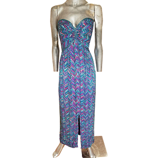 Bob Mackie boutique Grecian column silk strapless gown elaborately heavily beaded on patterned design