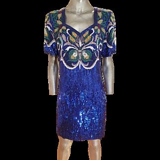 Vtg Oleg Cassini Blacktie silk Elaborately heavily beaded flapper Papillon dress blue azul