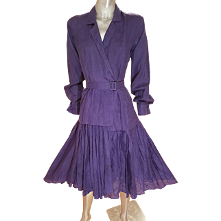 Vtg Morgane Le Ray slate plise' dress with belt