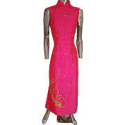 Vtg Cheongsam Chipao silk cerise maxi high side slits gold embroidered Phoenix & Blossoms fully lined with hook & eye