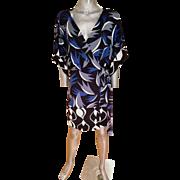 Vtg 90's Silk Diane van Furstenberg atomic wrap dress Kimono style