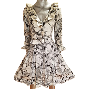 Vtg MGM Star Elaine Ravell Estate 1960's whimsical black/white floral ruffle muslin Avalon Classics dress with buckle belt