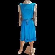 Vtg MGM Star Elaine Ravell 1960's silk wiggle aqua dress Blossom belt ruffled hem lined