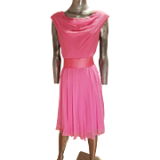 Vtg MGM Star Elaine Ravell Estate 1960's wiggle pink ballet silk chiffon dress with wide belt lined