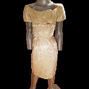 Vtg Gold Brocade 1940's dress/jkt ensemble metal zip botton