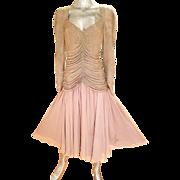 Vtgt Oleg Cassini Lavender Silk fully beaded draped bodice Ballerina Chiffon fluid dress