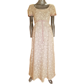 Vtg hand embroidered French Point de Gaze Duchesse dentelle empire 1930's gown lavender satin lined bows