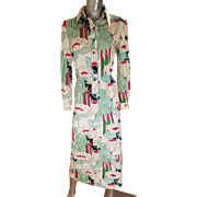 Vtg 1960's The Wilroy Traveller button front midi dress gold hand painted Lotus flowers