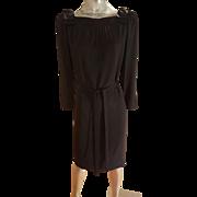 Vtg Couture 1960's Adele Simpson Crepe/silk Sheath dress w/belt shoulder kitten satin bows