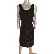 Vtg 1930's silk crepe flapper dress fully hand beaded and mini hand embroidered sequins metal zipper