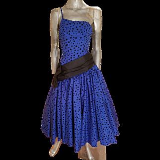 Vtg 1970's single shoulder lapis shantung party sweep gown w/ velour polka dots satin sash/bow