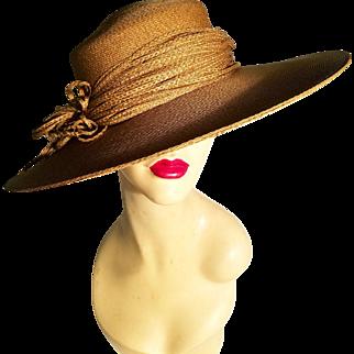 Vtg 1950 rare Mlle Arlette New York tilted wide brim spectator weaved straw hat straw flower ribbon detail
