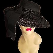 Vtg 1940-50's Rare Mlle Arlette New York wide brim Raffia beehive straw hat Grosgrain outsie ribbon detail