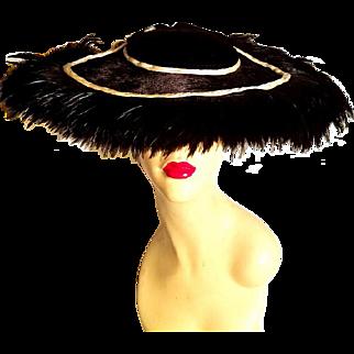 Vtg 1930's  Ostrich feathers wide brim platter tilt picture hat beaver faux fur cream satin decoration