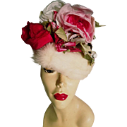 Vtg 1950's Best & Co Fifth Ave numbered white Mink Turban hat with large pink/red roses on crown