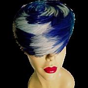 Vtg 1950's Ostrich feathers Pillbox Hat Azul blue & baby blue