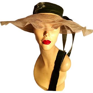 Vtg 1930's Large Picture wide brim hat sheer horsehair cartwheel brim velour ribbon bow & streamers