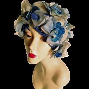 Vtg 1940's toque turban millinery flower crochet hat