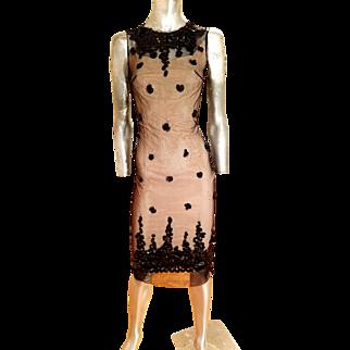 Vtg 1940's Tulle & large sequins illusion wiggle cocktail dress regency