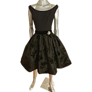 Vtg MGM Star Elaine Ravell Estate 1940's shantung soutache bubble dress crystal brooch bow belt
