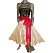 French Guipure strapless Peau de Soie full sweep Gown red bow sash Ethel Allan Estate Stamford