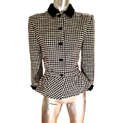Vtg 1970's Valentino Boutique Italy Equestrian fitted english wool jacket houndstooth