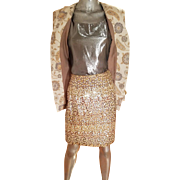 Vtg Albert Nipon 1970's 3pc Metallic skirt suit sequin skirt Lame' tank top Brocade Jacket