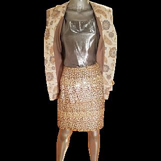 Vtg Albert Nipon 1970's 3pc Metallic skirt suit sequin skirt Lame' tank top Brocade Jacket