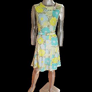 Vtg 1940's Wiggle panel marguerite jersey dress w/buckle belt