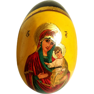 Vtg old Russian signed egg solid wood gold hand painted madonna and Child 1920-30's
