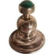 Vintage Silver Perfume bottle w/Moss Agate screw stopper