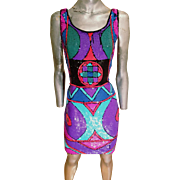 Vtg Amazing Geometric bright colored sequin heavy embellished dress 1970's