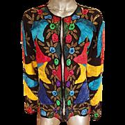 Vtg Bright beaded embroidered ribbon embellished silk Jacket/Blazer