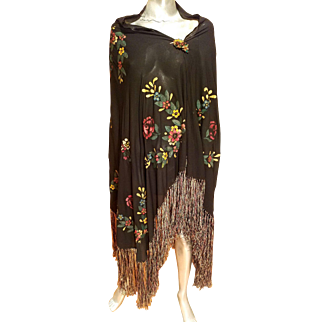 Vintage 1930's Rare silk crepe hand painted large shawl/Pareo/dress colored fringes crystal brooch