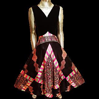 Vtg ELINOR GAY trapeze colorful hobo chic maxi dress velvet bodice