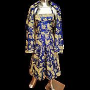 Vtg 1940's Polynesian hand painted Batik type dress w/long Shawl