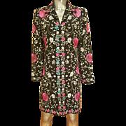 Vtg silk embroidered & aqua beaded coat/jacket