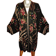 Vintage Beaded Opera Coat Silk Sequins regency Look