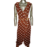 Vintage Valentino Wrap Dress Silk Polka Dot Tortoise Shell Buckle