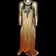 Vintage Cecilia Prado Couture Fringed Gold Lame' Knit Dress
