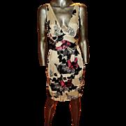 Roberto Cavalli Signed Vintage Dress Low V Front/Back Floral Printed Italy -44