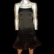 Chanel Boutique 100% Silk Runway Black Dress CC Detail Flounce Hem