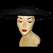 Vintage 1930 Wide Platter Tilt Hat w/ Bow New York Creations