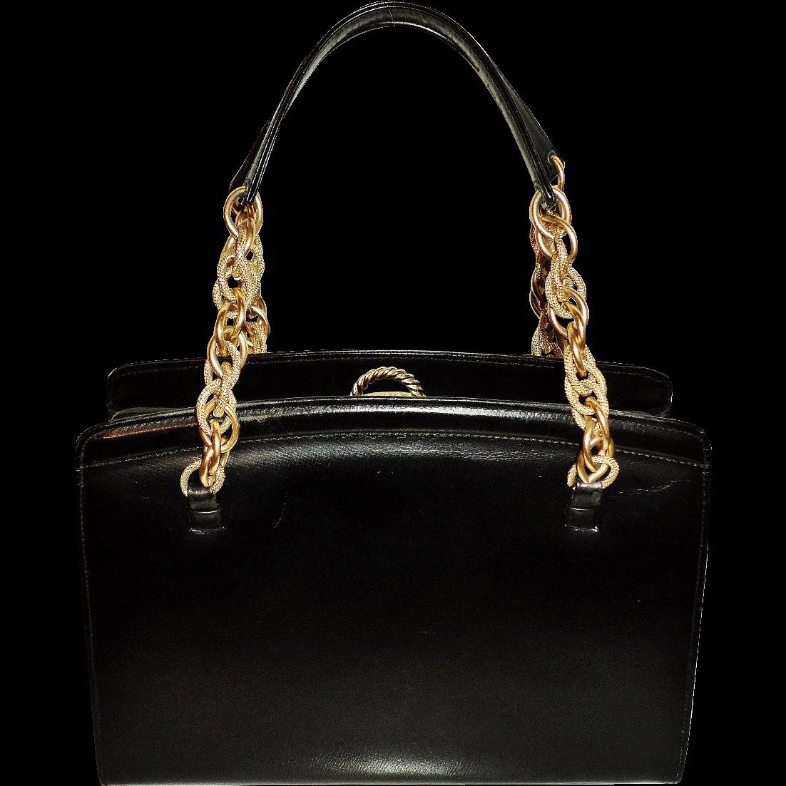 Vintage Dofan Paris Leather 1950s Handbag Gold Chain Handles